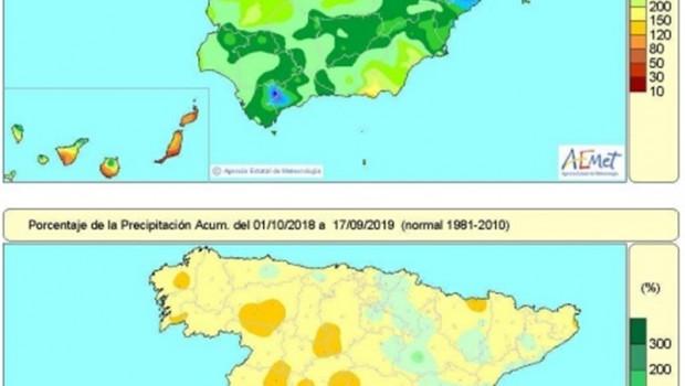 ep distribucion de las lluvias recogidas en espana en el ano hidrologico que indican una falta de