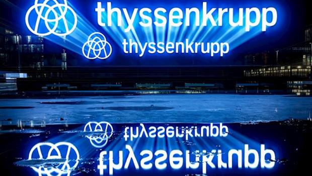 ep filed - 20 november 2019 essen the thyssenkrupp logo is reflected on a water surface two former