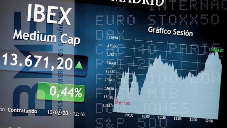 ep pantalla del ibex 35 con el grafico de la sesion en la sede de la bolsa de madrid el palacio de