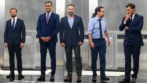 ep pedro sanchez pablo casado pablo iglesias albert rivera y santiago abascal antes del debate