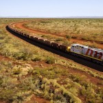 Rio Tinto train in the Pilbara region of Western Australia; mining