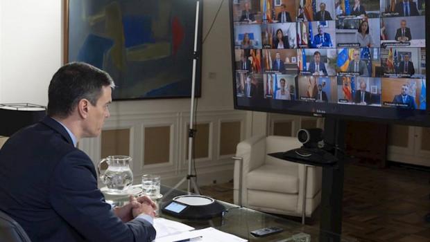 ep el presidente del gobierno pedro sanchez durante la videoconferencia para tratar la crisis del