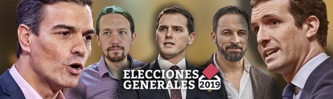 elecciones generales candidatos logo sanchez iglesias rivera abascal casado portada